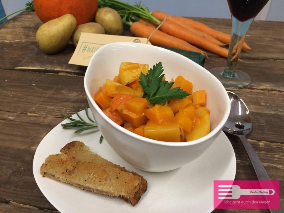Unser veganes Herbstgemüse mit Austernpilzschnitzeln