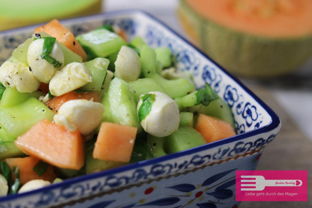 Melonen Gurken Mozzarella Salat
