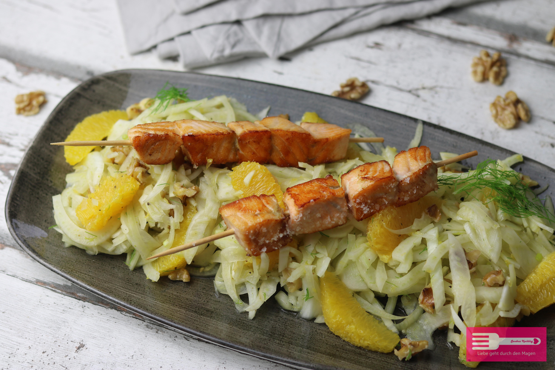 Orangen Fenchel Salat mit Lachsspießen Low Carb