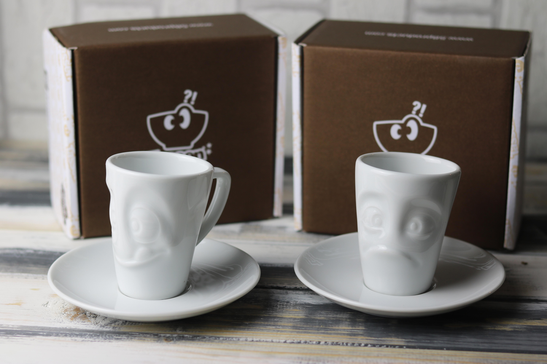 """Neu im Sortiment sind die hübschen Espresso Tassen, hier zu sehen """"Lecker"""" und """"Verdutzt"""", sind sie nicht niedlich?"""