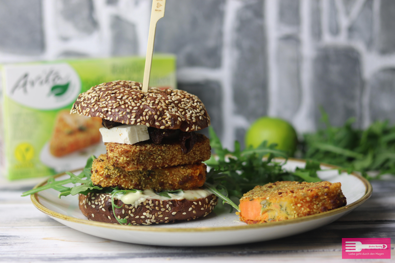 Rucola Süßkartoffel Burger mit den Rucola Süßkartoffel Ecken von Avita