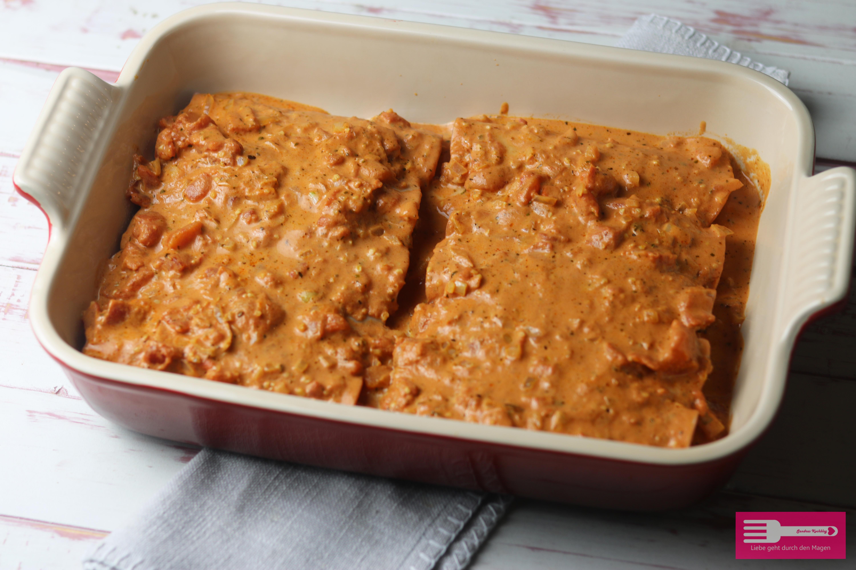 Schinken Hack Röllchen ohne Fix Tüte mit leckerer Tomaten Sahne Sauce